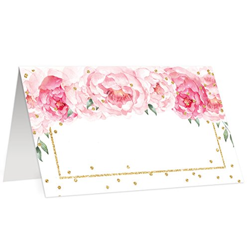 Peony Place Cards 50 Count Assigned Seating Blank Placecards Folded Scored Tented 3.5