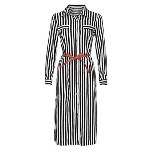 Womens Business Attire Dresses, Short Sleeve Stripe Print Button Dwom Split Hem Elegant Mid-Calf Tube Dresses Slim-Fit Black