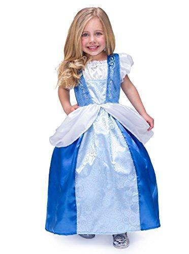 [Little Adventures Satin Cinderella Girls Princess Costume - Large (5-7 Yrs)] (Jasmine Costumes For Girl)