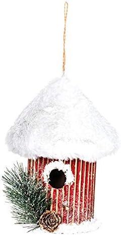 EUROCINSA Ref.28510 Casita pájaro Colgante cartón Oro con tejado nevado 15Øx20cm. 4uds, Rojo/Blanco, Talla única