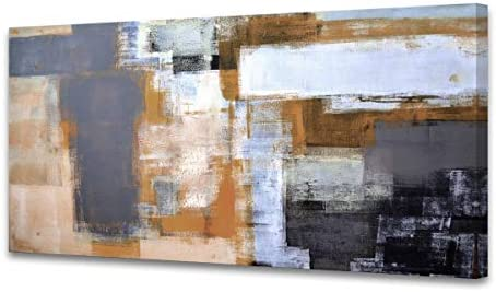 A61875 Modern Giclee Canvas Prints Picture Wall Art Abstract Brown Grey Framed Painting