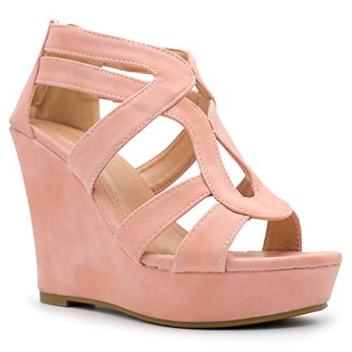 Top Moda Lindy-3 Platform Sandals, TS Lindy-3 Blush TS Size 7