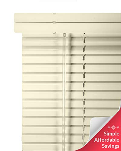 CHICOLOGY Custom Made Corded 1-Inch Aluminum Mini Blind, Blackout Horizontal Slats, Inside Mount, Room Darkening Perfect for Kitchen-Bedroom-Living Room-Office and More – 17″ W X 72″ H, Alabaster
