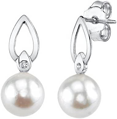 14K Gold White Akoya Cultured Pearl & Diamond Lisa Earrings