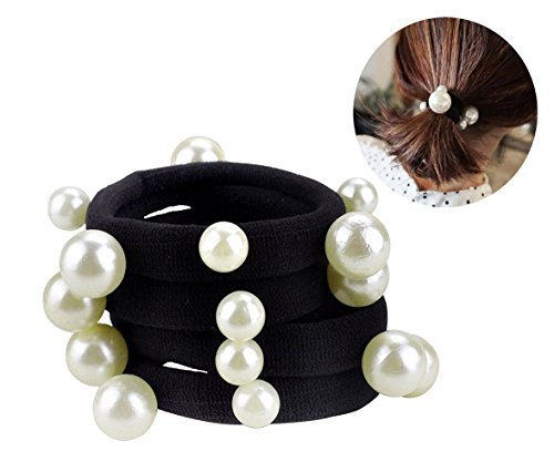 10 Pcs Women's Artificial Pearl Black Elastic Rubber Band Hair Ropes Headbands - No Damage Hair - Seamless Pearl Towel Ring Hair Bands Ponytail Holder Hair Ties Hair Accessories ()