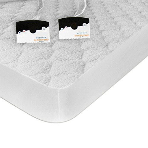 (Biddeford 5301-9051128-100 Sherpa Quilted Skirt Electric Heated Mattress Pad, Full, White)