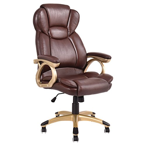 Giantex Office Chair Brown Ergonomic PU Leather High Back Executive Computer