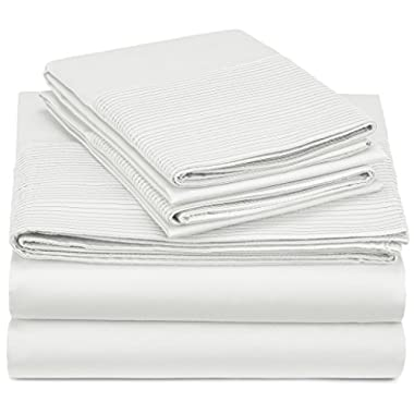 Pinzon 400-Thread-Count Pleated Hem Egyptian Cotton Sheet Set - King, Cloud
