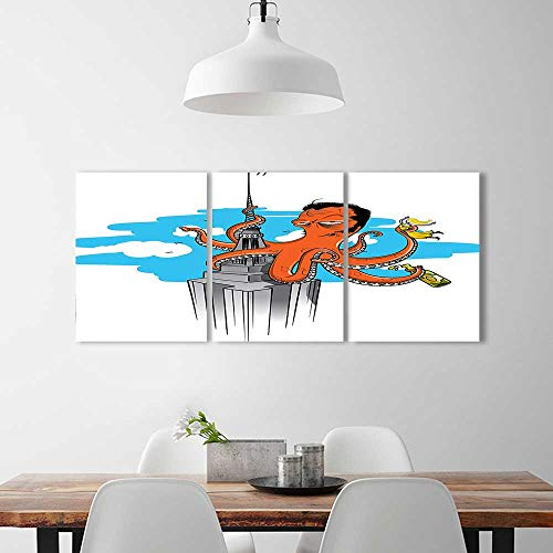 Analisahome Triptych Painting Combination Frameless Collection Retro Cartoon Octopus Illustrated as King Kong on Empire State Building Restaurant Bedroom Painting