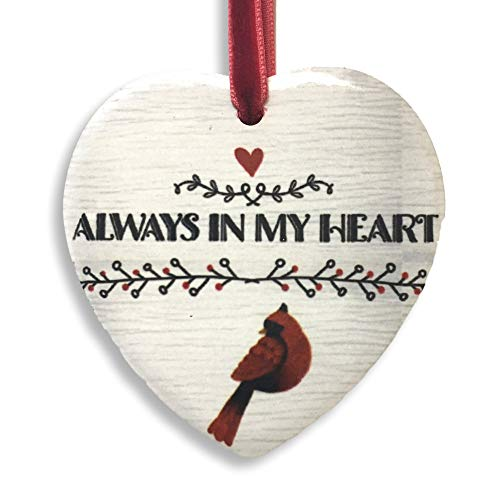 BANBERRY DESIGNS Memorial Cardinal Christmas Ornament - 2018 Always in My Heart Shaped Ceramic Xmas - in Loving Memory -