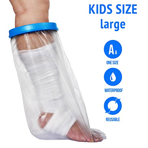Waterproof Cast Cover For Shower & Bath - Kids Legs. Reusable, 100% Sealed Water Protector Keeps Casts & Bandages Dry. Covers Broken Leg, Foot, Ankle, Wounds, Burns. Full Watertight Protection.