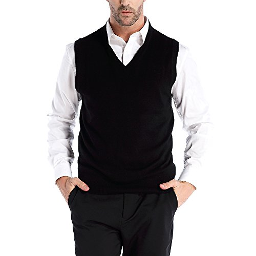 Kallspin Men's Relax Fit V-Neck Vest Knit Sweater Cashmere Wool Blend, Black, Large