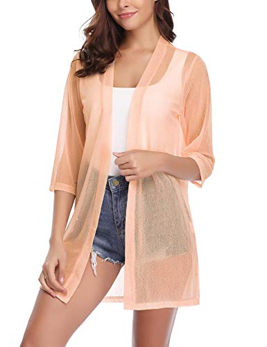 (iClosam Women Casual 3/4 Sleeve Sheer Open Front Cardigan Sweater (Beige, XX-Large) )