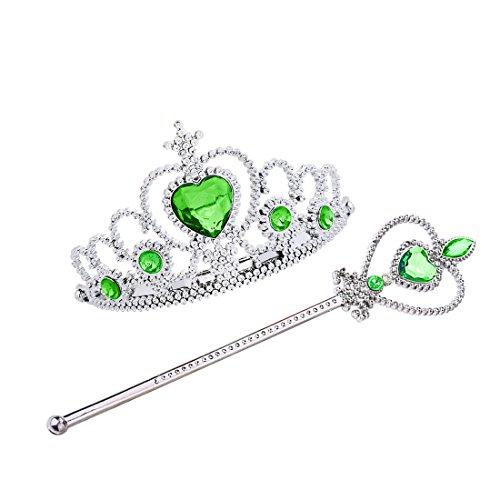 n Tiara and Wand Set Silver Heart Jewel Princess accessories (Light Green, 3 Diamonds) (Anna 3 Light)