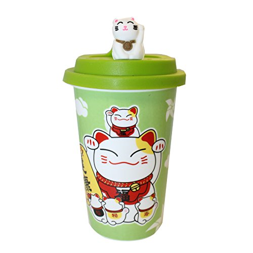 High Quality Japanese Lucky Cat Ceramic Mug/Cup-Green with Resin lid