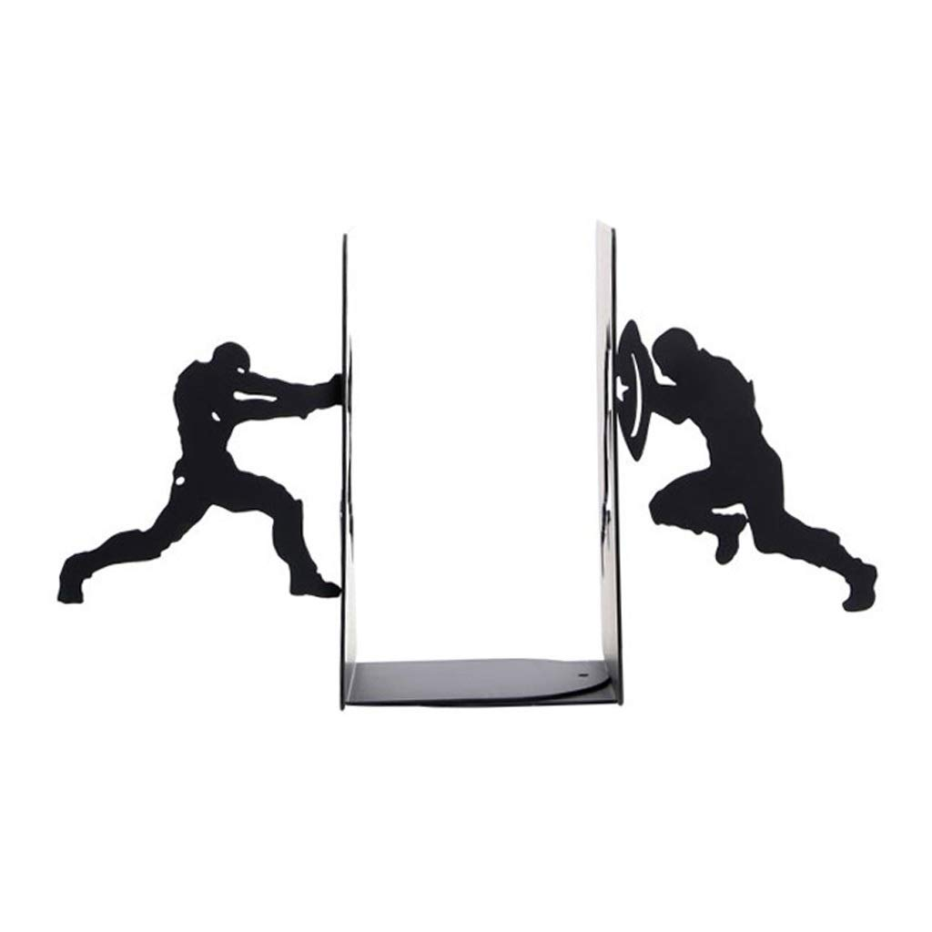 Xilin-shop Bookends Nonskid Black Metal Hero Bookends Unique Decoration Bookends Gifts for Book Lovers Art Bookend by Xilin-shop