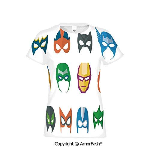 Crew Neck for Ultimate Comfort T-Shirt,Superhero,Hero Mask Female M ()