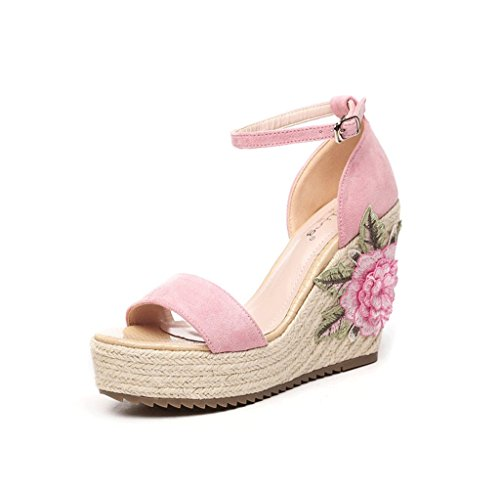 Shoes Style Ankle Thick Bohemian Braided Wedge Size Pink Color Sandals 39 Sandals nwW0TAZxqX
