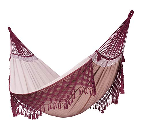 LA SIESTA Bossanova Bordeaux - Organic Cotton Kingsize Classic Hammock - Make sure this fits                by entering your model number. Family hammock for whole families - 440 lb weight capacity - most comfortable when lying diagonally Cotton from organic cultivation: fair to humans, fair to nature, supreme softness - patio-furniture, patio, hammocks - 4185AuzzHeL -