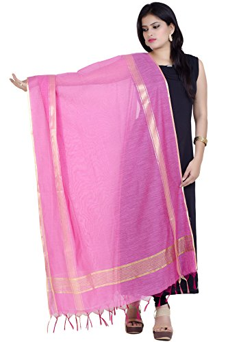 Chandrakala Women's Handwoven Pink Zari Work Banarasi Dupatta Stole Scarf,Free Size (D134PIN) (Best Fabric For Dupatta)