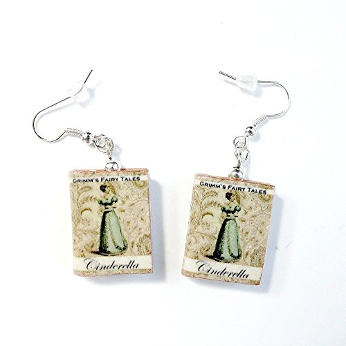[CINDERELLA Clay Mini Book Earrings by Book Beads Traditional Classic Fairy Tale Princess Collection Choose Your Earring] (Cinderella Stepmother Costumes)