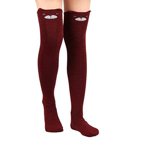 Boots Skirts Knee High (Haresle Women's 3D Cartoon Pattern Cat Stocking Knee High Socks (Burgundy))