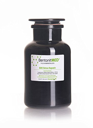 Bentonite Med 600 Detox Capsules in Violet Glass