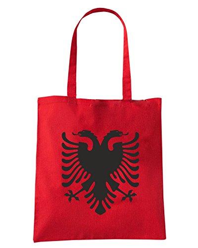 T-Shirtshock - Bolsa para la compra TM0149 Albania flag flag Rojo