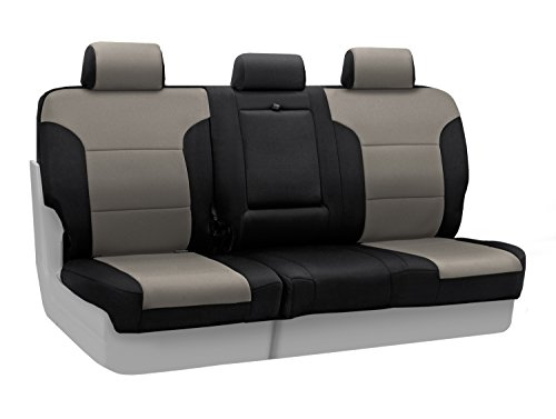 Coverking Custom Fit Rear 60/40 Bench Seat Cover for Select Honda CR-V Models - Neosupreme 2-Tone (Charcoal with Black (2 Tone Charcoal)