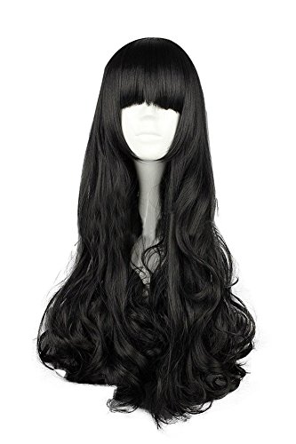 Mtxc RWBY Cosplay Blake Belladonna Long Straight Curly Wig (Blake Belladonna Costume)
