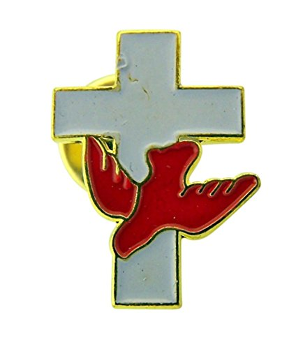 (Religious Gifts White Enamel Latin Cross with Red Holy Dove Lapel Pin, 1 1/4 Inch)