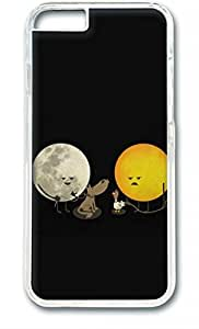 E-luckiycase PC Hard Shell Moon and Sun Transparent Skin Edges for Iphone 6(4.7Inch) Case