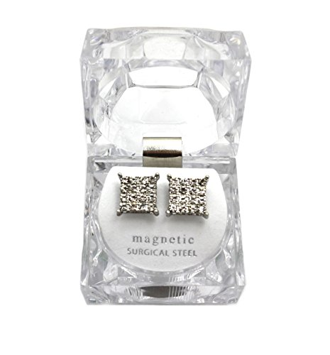 Gold, Silver Tone 11.4 mm Rhinestone Filled Square Shape Magnetic Stud Earring XE1151 (Silver (Hip Hop Magnetic Earrings)