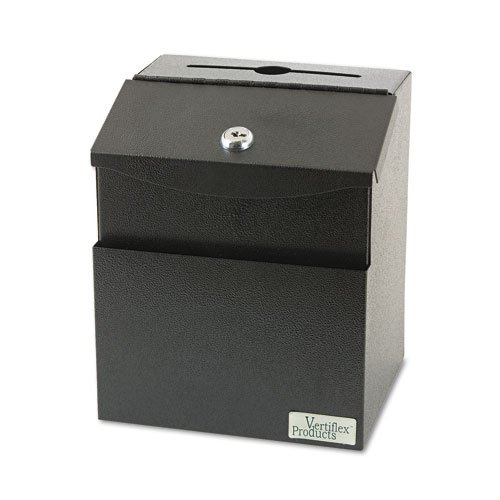 Vertiflex Steel Suggestion Box With Locking Top 7 X 6 X 8-1/2 Black Labels Front Pocket