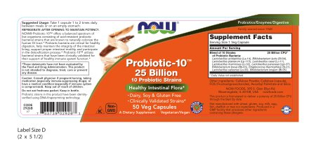 NOW Foods Probiotic-10 25 Billion 50Vcaps (2 Bottles)