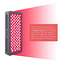 Red Light Therapy Device by Hooga. Red 660nm Near Infrared 850nm Combo. 100 LEDs. High Power Output Over 100mW/cm2 for Skin, Pain Relief, Anti Aging, Muscle Recovery, Performance and More. HG500.