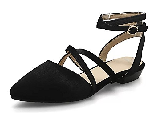 Sfnld Women's Sexy Pointed Toe Cross Buckle Strap Flats Sandals Black 10 B(M) US