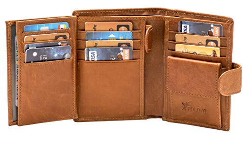 Large RFID Leather Card Holder Trifold Wallet Snap Closure 3 ID Windows (Brown)