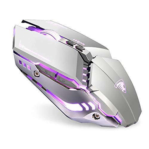 TENMOS T12 Wireless Gaming Mouse Rechargeable, 2.4G Silent Optical Wireless Computer Mice with Changeable LED Light Compatible with Laptop PC, 7 Buttons, 3 Adjustable DPI (Silver)