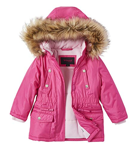 Girls Fleece Lined Heavy Winter Anorak Jacket Coat Faux Fur Trim Zip-Off Hood - Fuchsia (7/8)