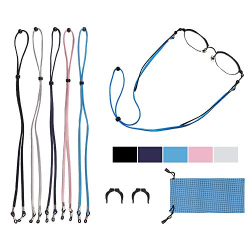Glasses Leather Sprot Strap Chain Eyeglass String Cord Holder Adjustable 5 Pack
