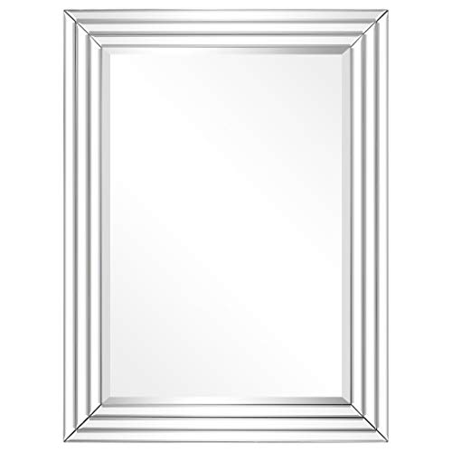 Empire Art Direct Wall, Solid Wood Frame Covered with Beveled Multi Faceted -