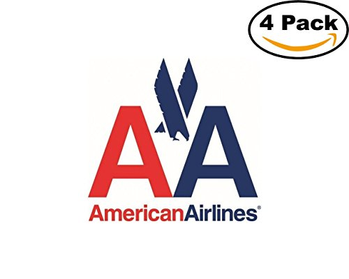 Airlines American Airlines Logo 4 Stickers 4X4 Inches Car Bumper Window Sticker Decal