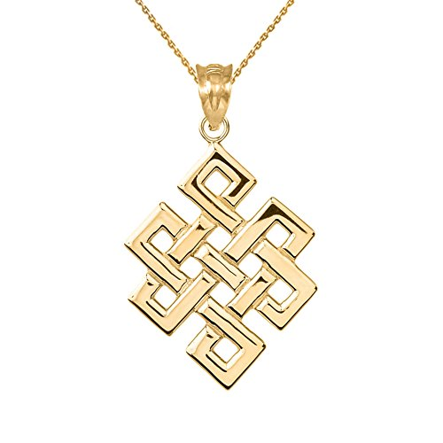 Eternal Knot (Fine 14k Yellow Gold Japanese Endless Knot Pendant Necklace, 20