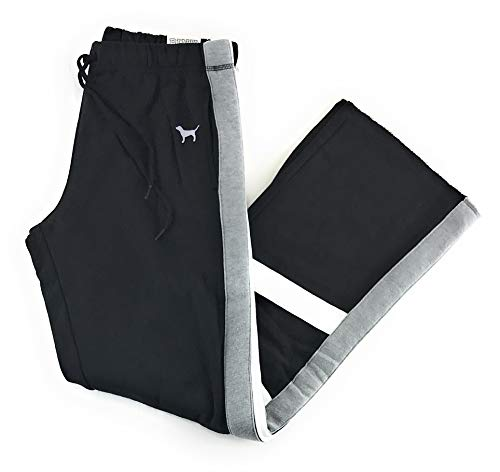 Victoria's Secret Pink Boyfriend Sweat Pants Small Black White Gray Cross Stripe
