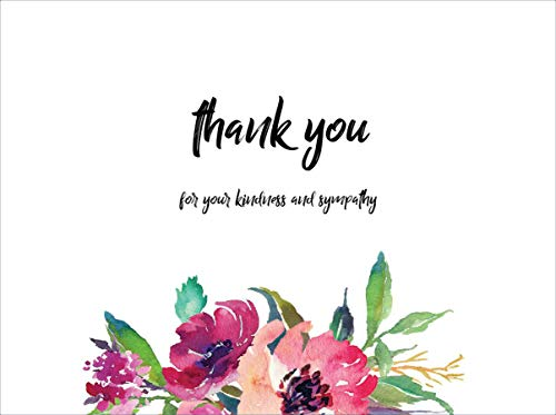 20 Flower funeral Celebration of life thank you cards with envelopes Sympathy Floral Thank you Cards