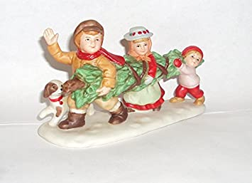 1990 Geo Z Lefton 07828 Colonial Village Children With Christmas Tree Figurine