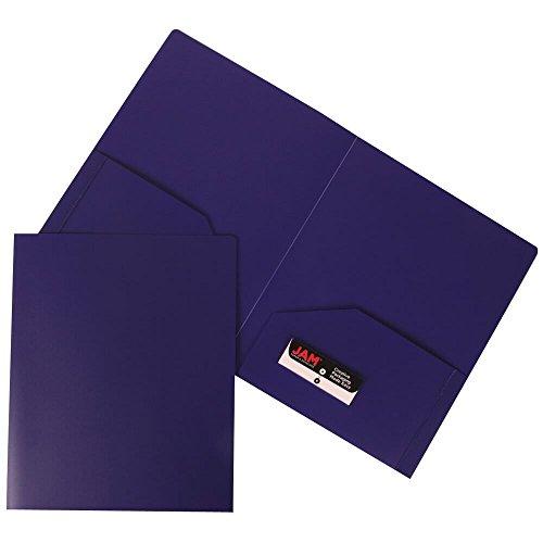 JAM Paper Plastic Heavy Duty Two Pocket Presentation Folder - Purple - Sold individually