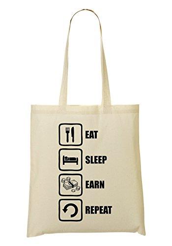 Eat Sleep Earn Repeat Funny Black Money Graphic Bolso De Mano Bolsa De La Compra