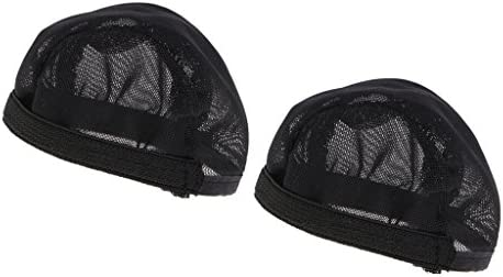 Fenteer 全2カラー 布製 人形ウィッグヘッドギア ウィッグキャップ ヘッド保護カバー 1/12スケールクーランドールのため 2個 - ブラック